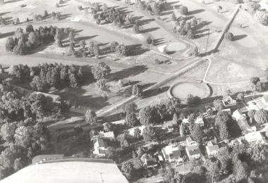 Aerial view of the Octagon earthworks and the Moundbuilders Country Club. Photo courtesy Einar E Kvaran